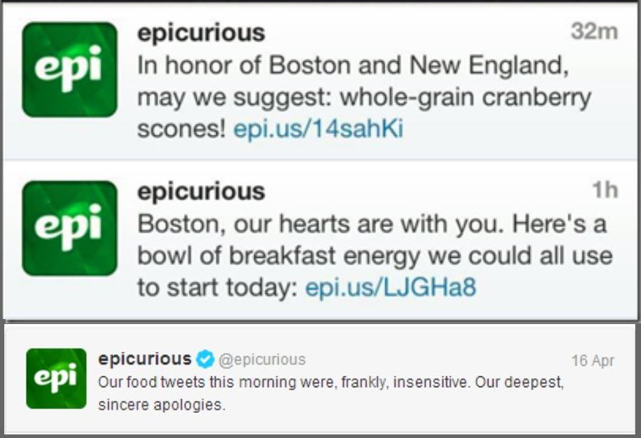 Epicurious Newsjacking fail example